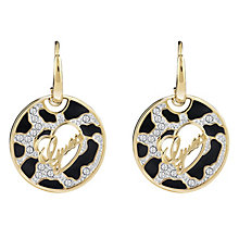 Guess Gold-Plated Animal Print & Logo Disc Drop Earrings - Product number 4460723