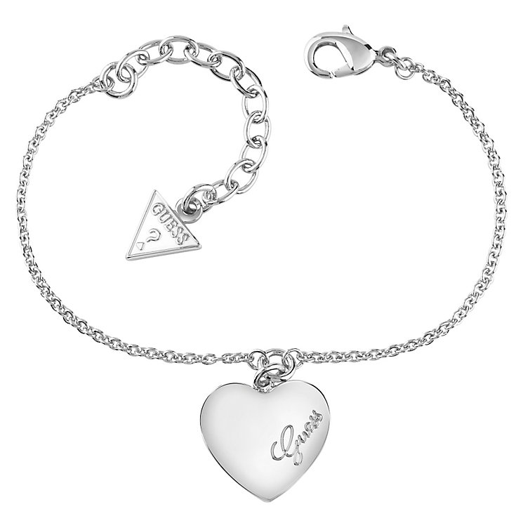 Guess Rhodium-Plated Heart Charm Adjustable Bracelet - Product number 4460766