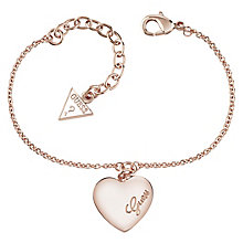 Guess Rose Gold-Plated Heart Charm Adjustable Bracelet - Product number 4460782