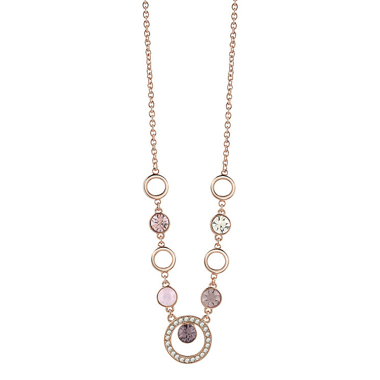 "Guess Rose Gold-Plated 5 Stone Circle Necklace 16""-18"" - Product number 4460987"