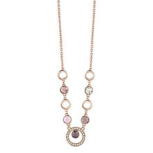 """Guess Rose Gold-Plated 5 Stone Circle Necklace 16""""-18"""" - Product number 4460987"""