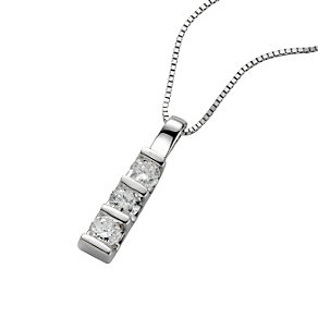 9ct white gold quarter carat three diamond pendant necklace - Product number 4461142