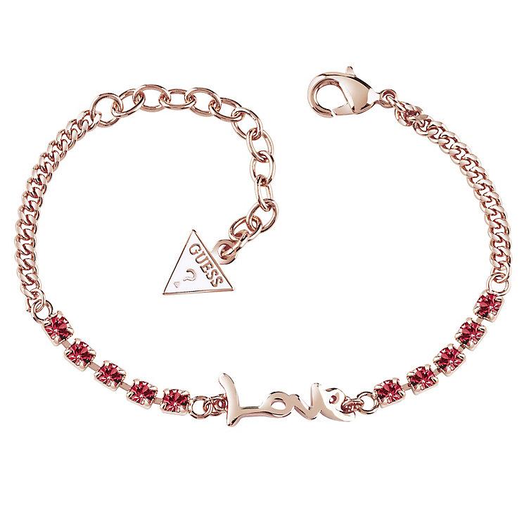 Guess Rose Gold-Plated Stone Set Love Adjustable Bracelet - Product number 4461185