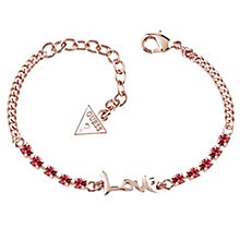 Guess Rose Gold-Plated Stone Set Love Adjustable Bracelet - Product number 4461185