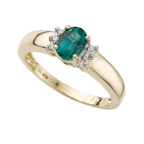 18ct gold created emerald and diamond ring