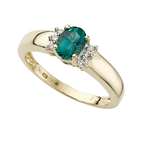 18ct gold created emerald and diamond ring - Product number 4461444