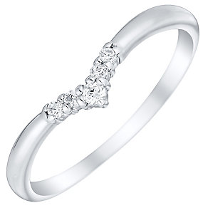 Sterling Silver Cubic Zirconia Set Wishbone Ring Size L - Product number 4462599
