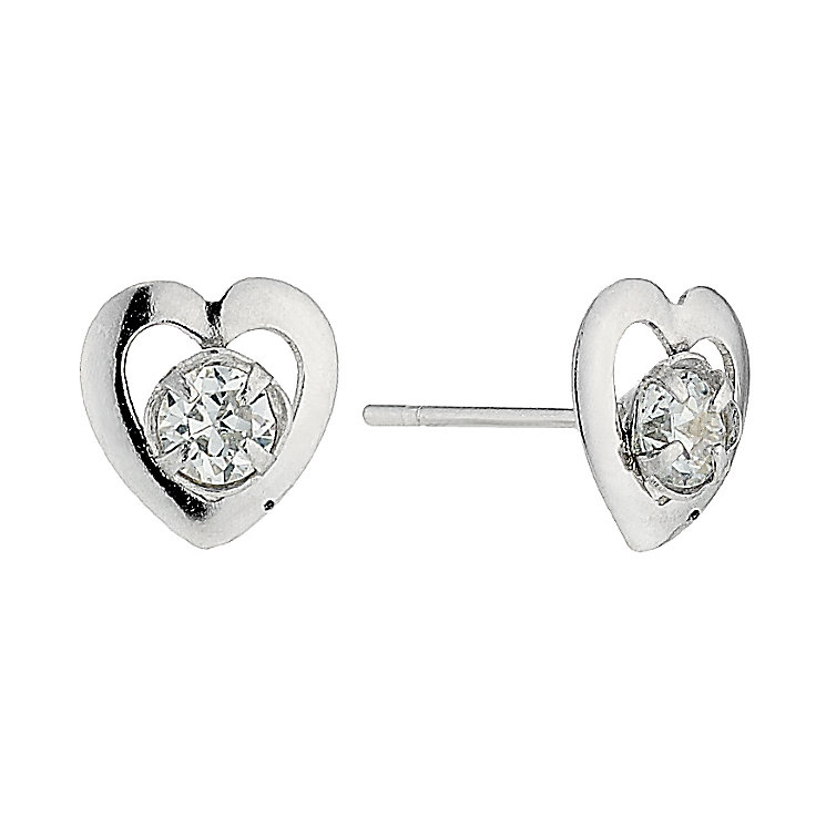 9ct white gold small cubic zirconia stud earrings