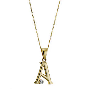 9ct Gold Cubic Zirconia Initial A Pendant - Product number 4464656