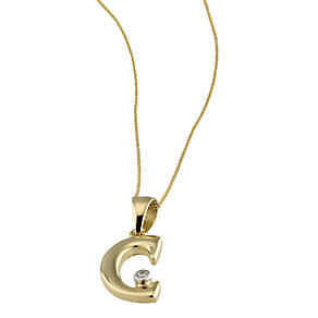 9ct Gold Cubic Zirconia Set Letter C Pendant with 16