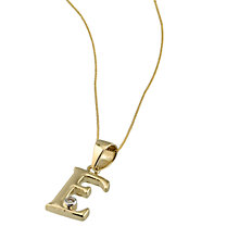 "9ct Gold Cubic Zirconia Set Letter E Pendant with 16"" Chain - Product number 4464699"