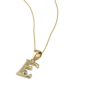 9ct Gold Cubic Zirconia Set Letter E Pendant with 16