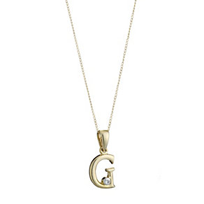 9ct Gold Cubic Zirconia Initial G Pendant - Product number 4464710