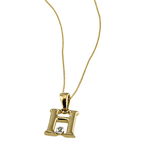 9ct Gold Cubic Zirconia Set Letter H Pendant with 16