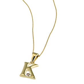 9ct Gold Cubic Zirconia Set Letter K Pendant with 16