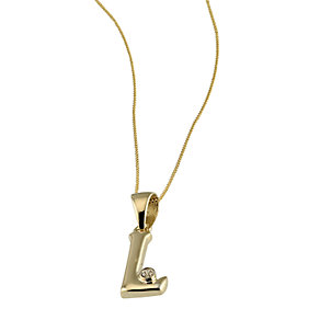 9ct Gold Cubic Zirconia Set Letter L Pendant with 16