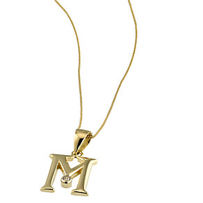 9ct Gold Cubic Zirconia Set Letter M Pendant with 16