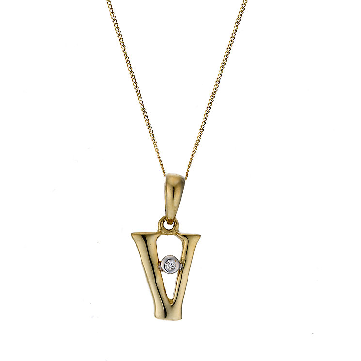 9ct Yellow Gold Letter Pendant V - Product number 4464885