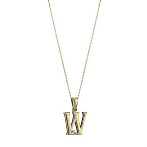 9ct Gold Cubic Zirconia Initial W Pendant - Product number 4464893