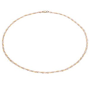 9ct Three-Colour Gold Herringbone Necklace