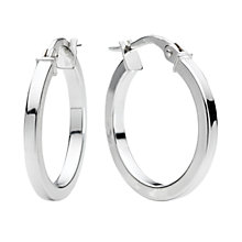 9ct white gold plain round Creole hoop earrings - Product number 4467604
