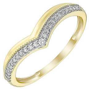 Ladies' 9ct Gold 0.10 Carat Diamond Set V Shaped Band - Product number 4469976