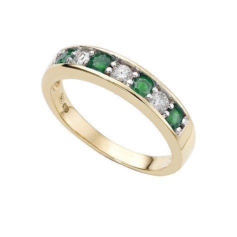 18ct gold emerald and fifth carat diamond ring