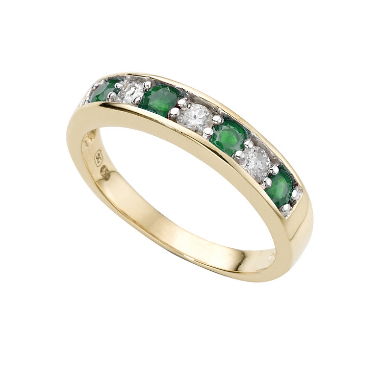 18ct gold emerald and fifth carat diamond ring - Product number 4470516