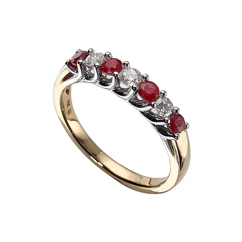 18ct two-colour gold ruby and fifth carat diamond ring