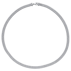 Rhodium-plated Sterling Silver 2 Row Cubic Zirconia Necklace - Product number 4471105