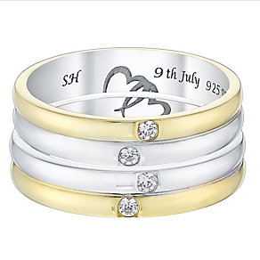 Commitment 9ct Gold & White Gold Diamond Wedding Ring Set - Product number 4471717