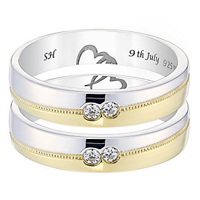 Commitment 9ct Gold & White Gold Diamond Wedding Ring Set - Product number 4471768