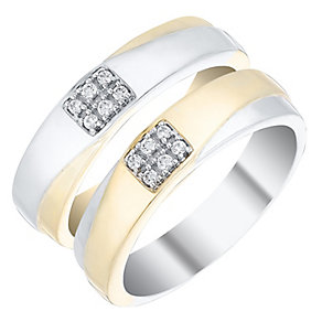 Love True 9ct Gold & White Gold 0.10 Carat Diamond Band Set - Product number 4471792