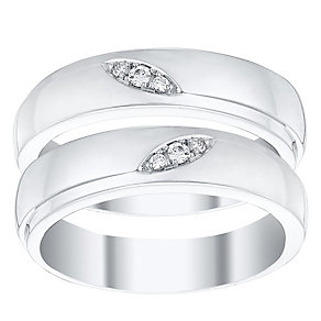 Love True 9ct White Gold Diamond Wedding Band Set - Product number 4471814