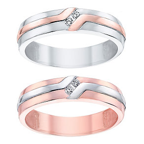Love True 9ct White & Rose Gold Diamond Band Set - Product number 4471830