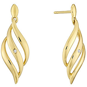 9ct Gold Diamond Set Triple Wave Drop Earrings - Product number 4471989