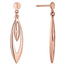 9ct Rose Gold Diamond Set Double Teardrop Drop Earrings - Product number 4472012