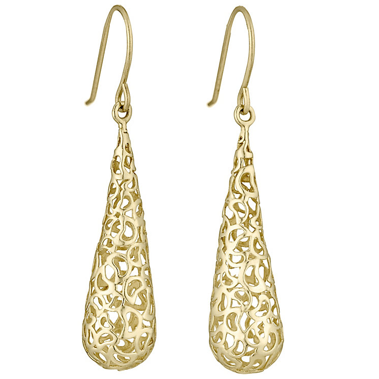 9ct Gold Cut Out Teardrop Earrings - Product number 4472055