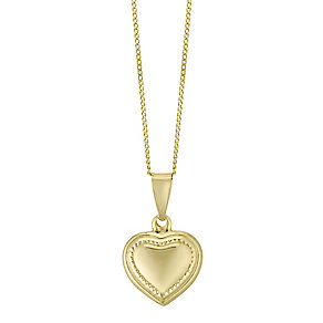 9ct Gold Beaded Heart Pendant - Product number 4472071