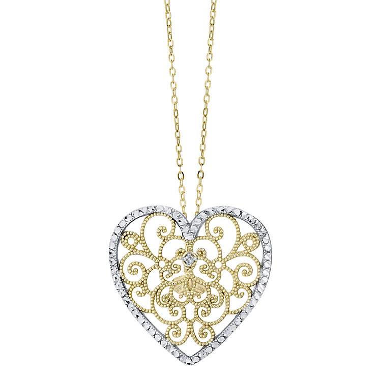 9ct Two Tone Diamond Heart Pendant - Product number 4472098