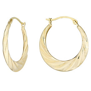 9ct Gold Patterned Creole Earrings - Product number 4473981