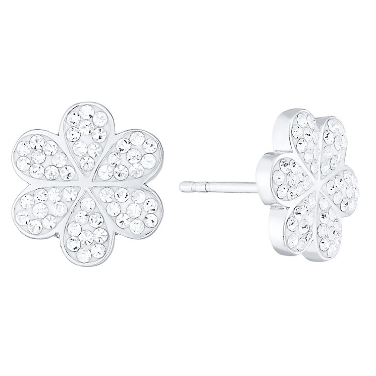 Evoke Rhodium-Plated Crystal Flower Stud Earrings - Product number 4474317