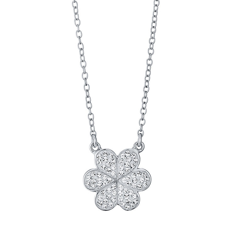 Evoke Rhodium-Plated Crystal Flower Necklace - Product number 4474619