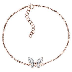 Evoke Rose Gold Plated Crystal Butterfly Bracelet - Product number 4475097