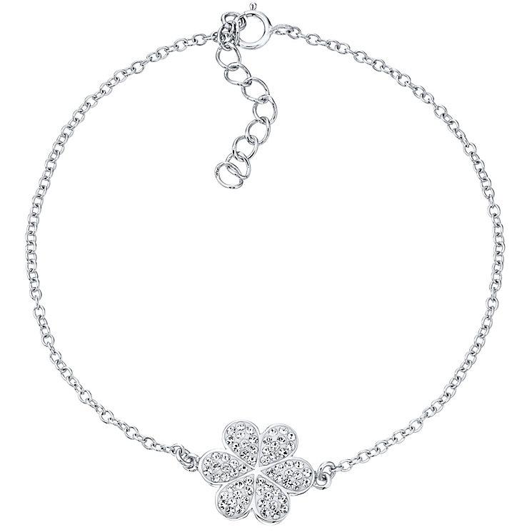 Evoke Rhodium Plated Crystal Flower Bracelet - Product number 4475739
