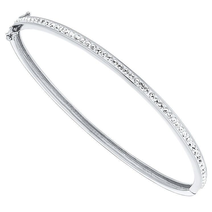 Evoke Silver Rhodium-Plated Crystal Hinged Bangle - Product number 4475844