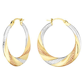 9ct Gold Three Tone Twist Round Earrings - Product number 4475887