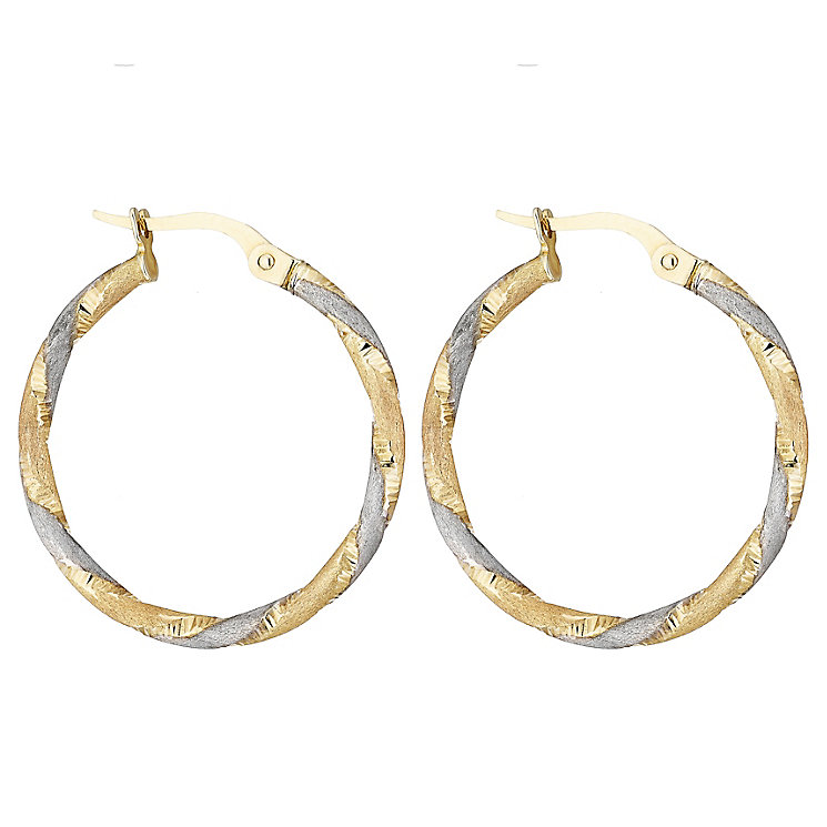 9ct Gold Three Tone Satin Finish Twist Round Earrings - Product number 4476018