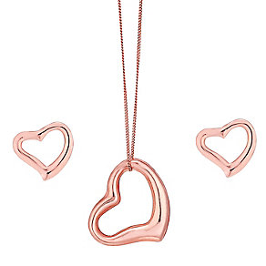 9ct Rose Gold Open Heart Earring and Pendant Set - Product number 4476069