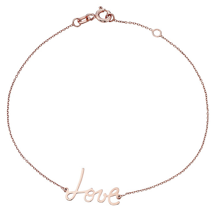 9ct Rose Gold 'Love' Bracelet - Product number 4476131